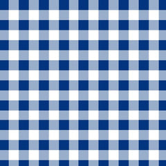A flat sample of Gingham Printed Spandex with half inch squares in the colors Navy and White.
