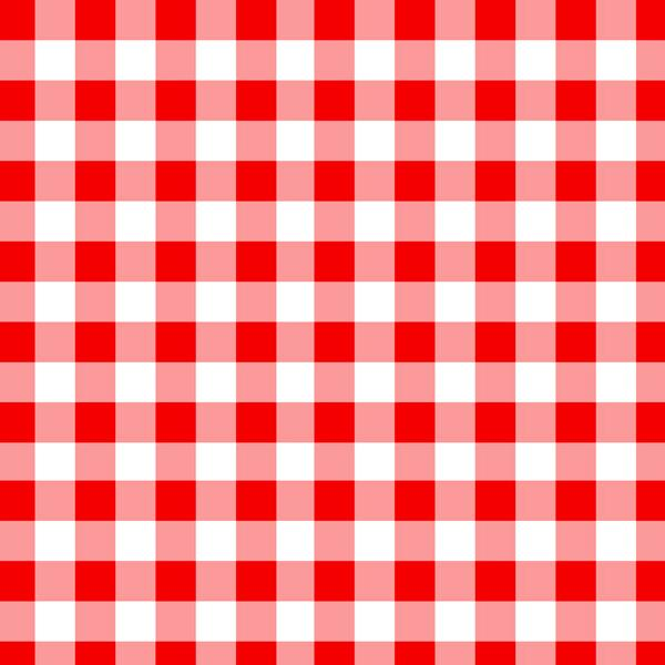 A flat sample of Gingham Printed Spandex with half inch squares in the colors Red and White.