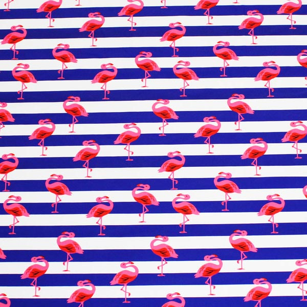 A flat sample of Flamingo Striped Printed Spandex.