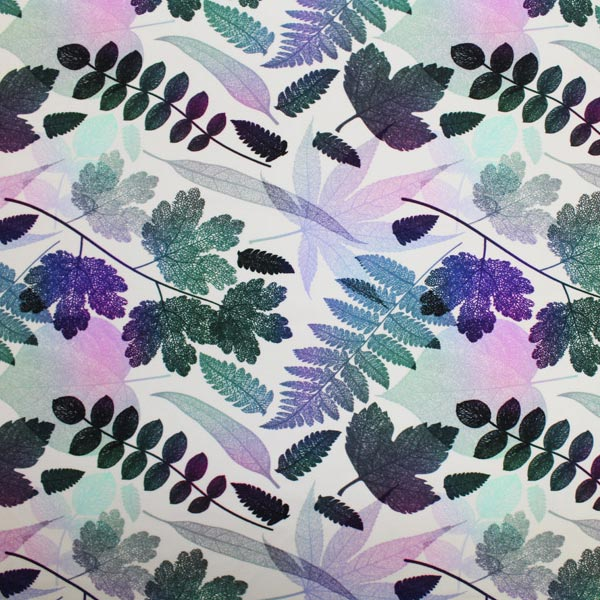 A flat sample of Fern Printed Spandex.