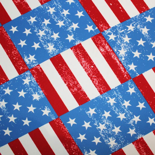 A flat sample of USA Flag Printed Spandex.