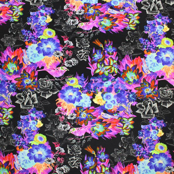 A flat sample of Vintage Multi Flower Printed Spandex.