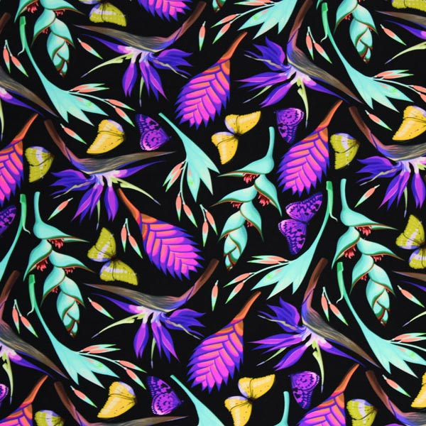 A flat sample of Butterflies Birds of Paradise Printed Spandex.