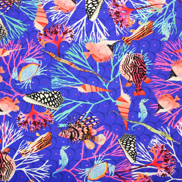 A flat sample of Puffer Fish Crabs Printed Spandex.
