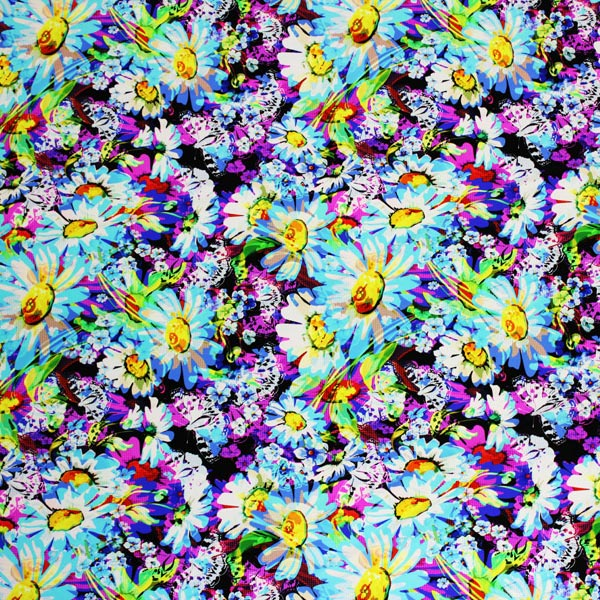 A flat sample of Butterflies Daisies Printed Spandex.