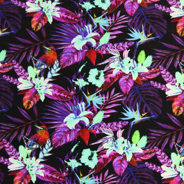 A flat sample of Black Purple Birds of Paradise Printed Spandex.