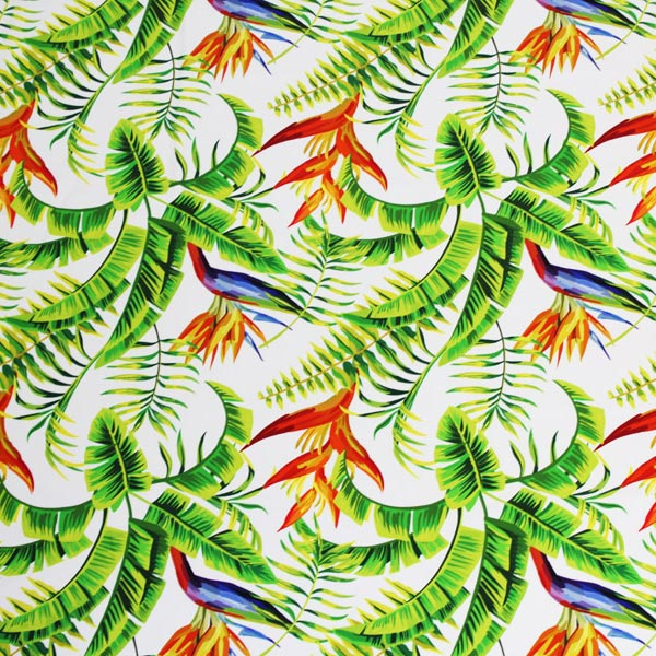 A flat sample of Tropical Foliage Printed Spandex.