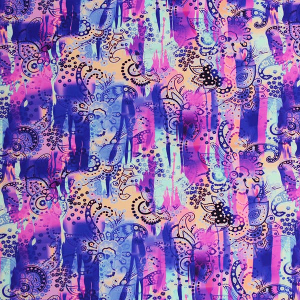 A flat sample of Wanderlust Paisley Printed Spandex.