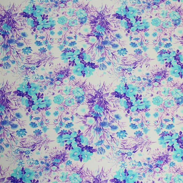 A flat sample of Bunches of Flowers Printed Spandex.