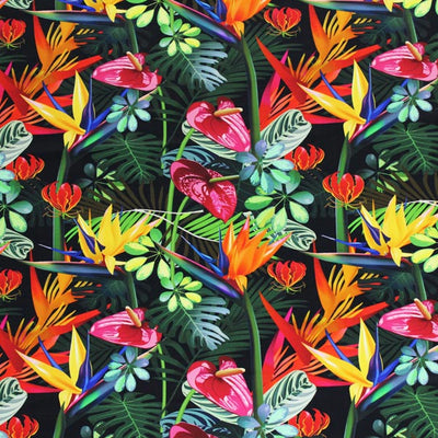 A flat sample of Multi Color Birds Of Paradise Printed Spandex.