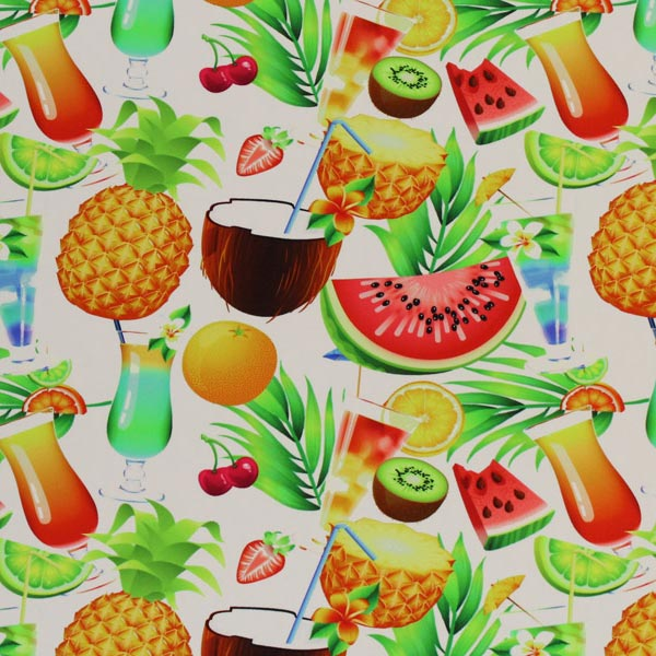 A flat sample of Fruit Cocktails Printed Spandex.