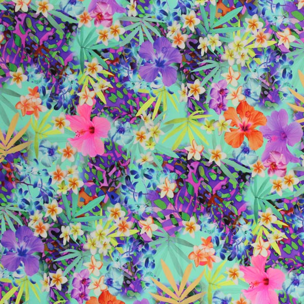 A flat sample of Multi Color Flower Arrangement Printed Spandex.
