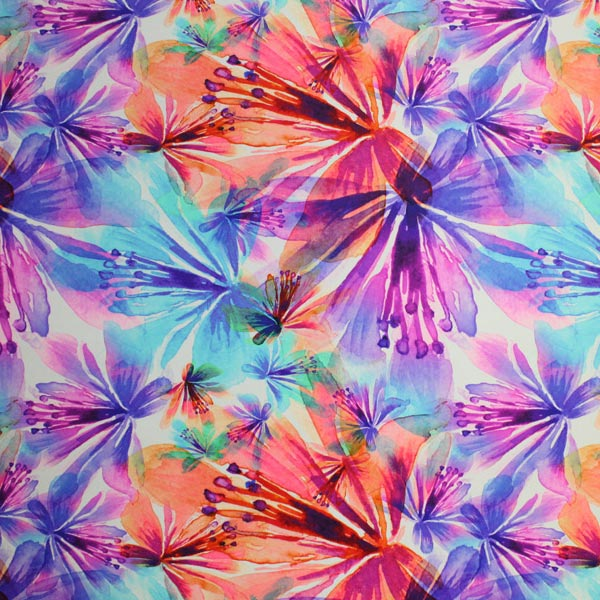 A flat sample of Watercolor Floral Printed Spandex.