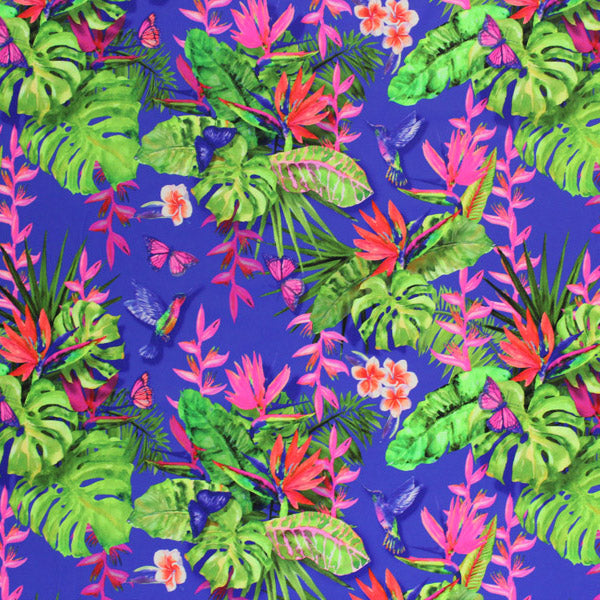 A flat sample of Humming Bird Tropical Garden Printed Spandex.