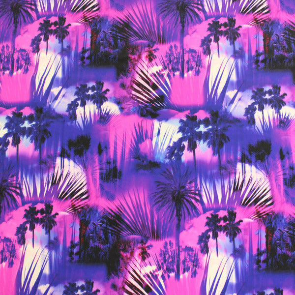 A flat sample of Miami Palms Printed Spandex.