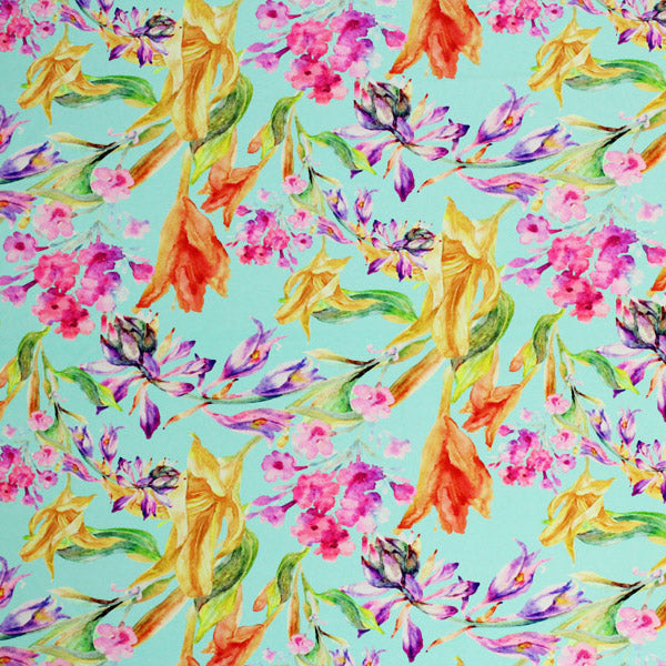 A flat sample of Spring Iris Printed Spandex.