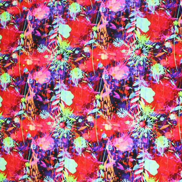 A flat sample of Flowers and Paint Splatters Printed Spandex.