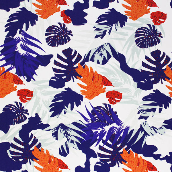 A flat sample of Purple and Orange Philodendron Printed Spandex.