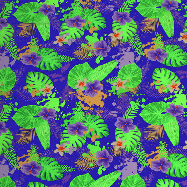 Hibiscus and Palms Printed Spandex