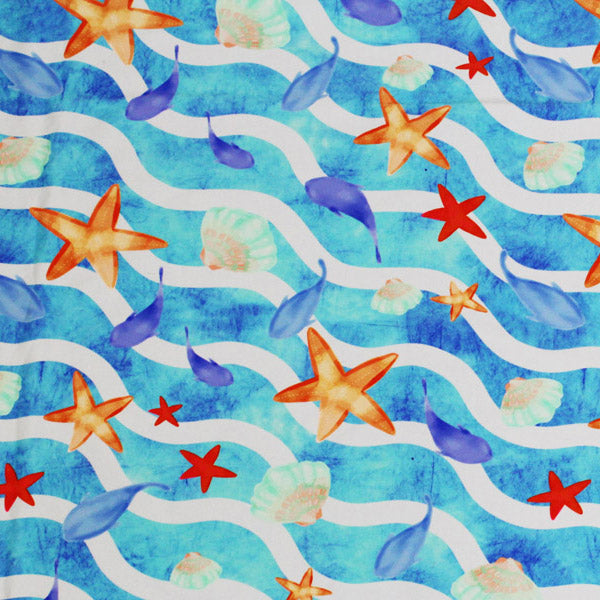 Starfish Waves  Line Printed Spandex