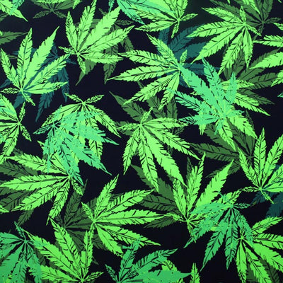 A flat sample of Cannabis Leaf Printed Spandex.