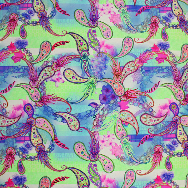 A flat sample of Paisley Floral Multi Color Printed Spandex.