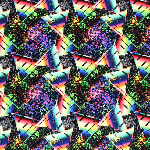 A flat sample of Modern Rainbow Triangles Printed Spandex.