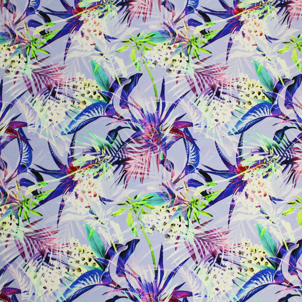 A flat sample of Tropical Flowers and Palms Printed Spandex.