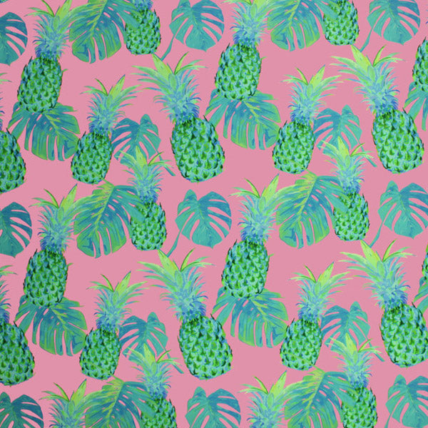 A flat sample of Pink Green Pineapple Printed Spandex.