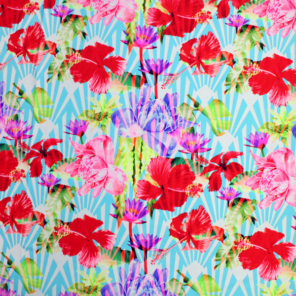 A flat sample of Hibiscus Under Palms Printed Spandex.