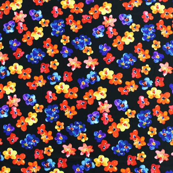 A flat sample of Blooms In The Night Printed Spandex.