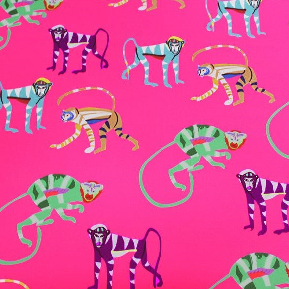 A flat sample of pink monkey printed spandex.
