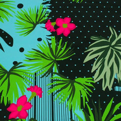 A flat sample of night light florals printed spandex.
