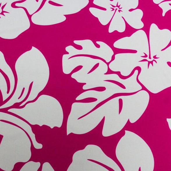 A flat sample of hawaiian pink printed spandex.