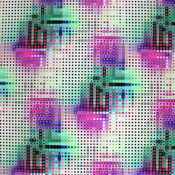 A flat sample of Digital Tetris Printed Spandex.