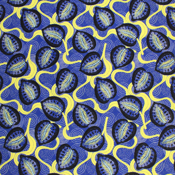 A flat sample of Blue and Yellow Leaves Printed Spandex.