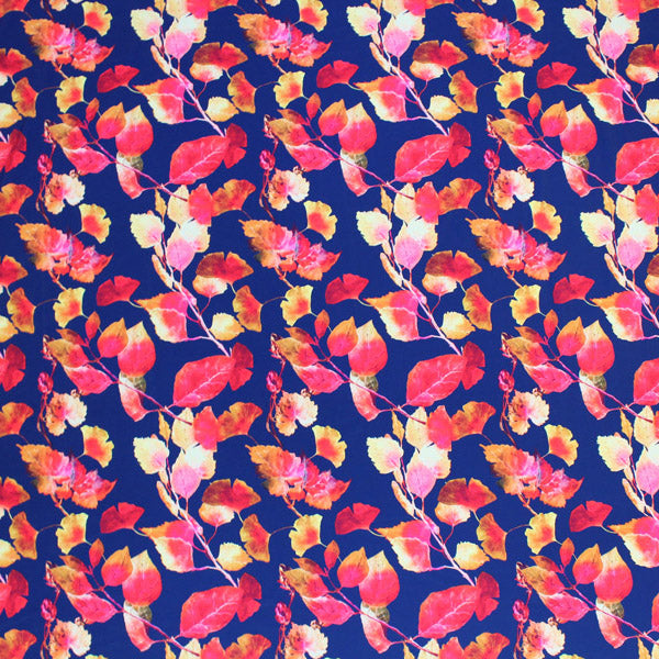 Autumn Navy Rust Leaves Printed Spandex