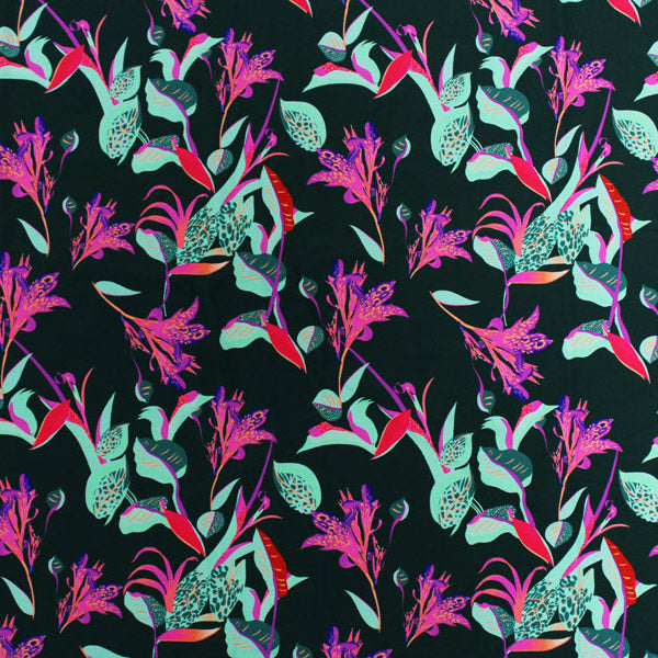 A flat sample of Groovy Night Flowers Printed Spandex.