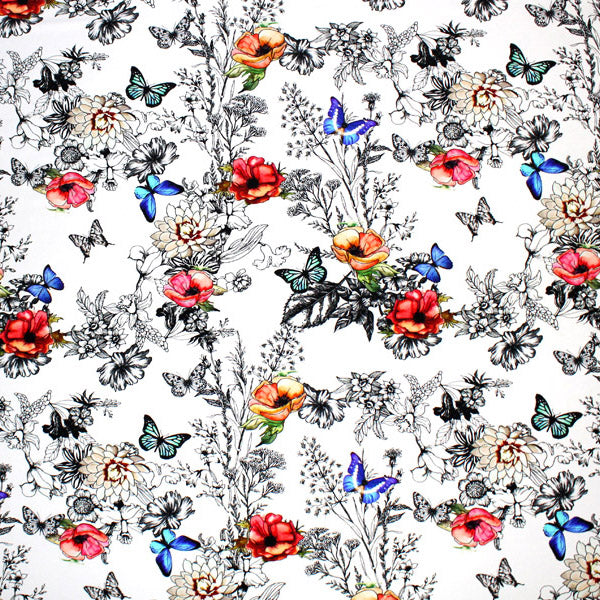 A flat sample of Poppy Butterfly Garden Printed Spandex.