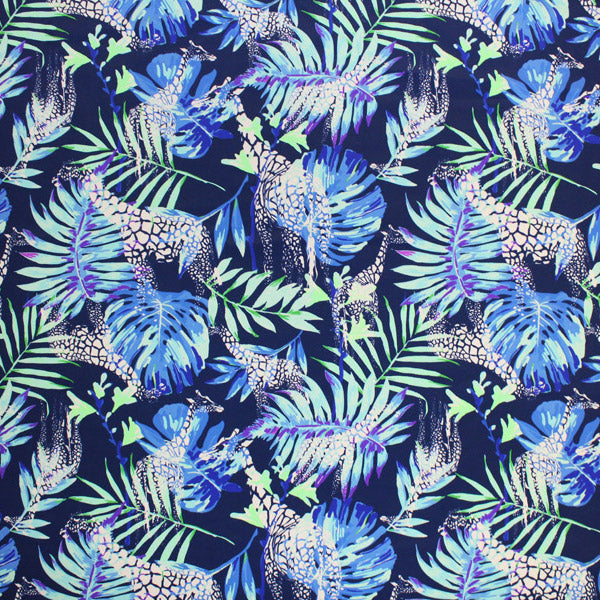A flat sample of Giraffes and Areca Palms Printed Spandex.
