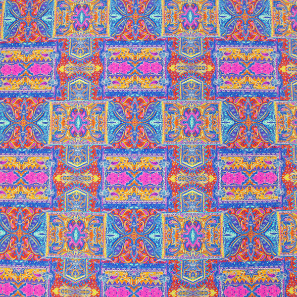 A flat sample of Cathedral Paisley Printed Spandex.