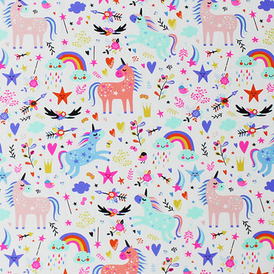 A flat sample of Unicorn Star Fantasy Butterfly Printed Spandex.