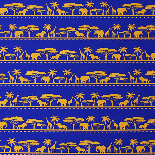 A flat sample of Elephant Giraffe African Safari Printed Spandex.