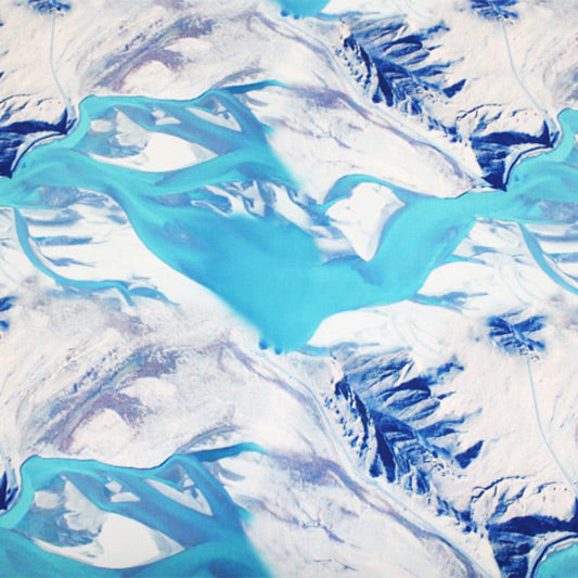 A flat sample of Ice Glacier Ocean Printed Spandex.