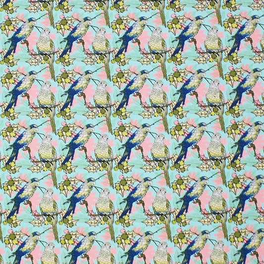 A flat sample of Parakeets on Branches Printed Spandex.