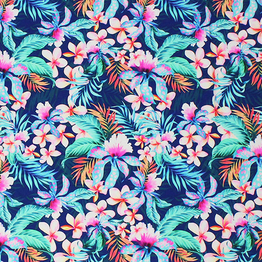 A flat sample of Hawaiian Jungle Printed Spandex.