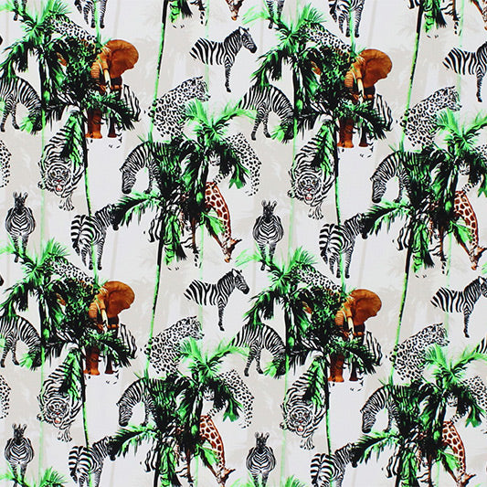 A flat sample of Zebra and Tiger Palm Tree Safari Printed Spandex.