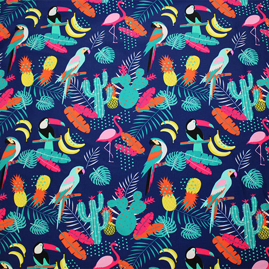 A flat sample of Toucans Parrots Bananas Printed Spandex.