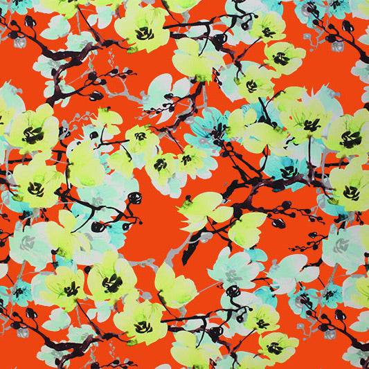 A flat sample of Pop Art Blossoms Printed Spandex.