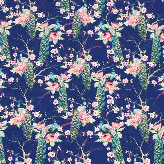 Peacocks on Branches Printed Spandex